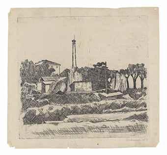 Giorgio Morandi-Paesaggio con ciminiera (Sobborghi di Bologna)-1926