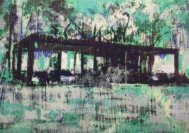 Enoc Perez - Glass House I (Blue), oil paint and archival pigment inks on cardboard, 2015, 38.7x27.9cm (15x11 inch) - From the Glass House Portfolio, a series of four different prints. Individual finish, each piece is unique. Signed and dated on recto, numbered on verso.