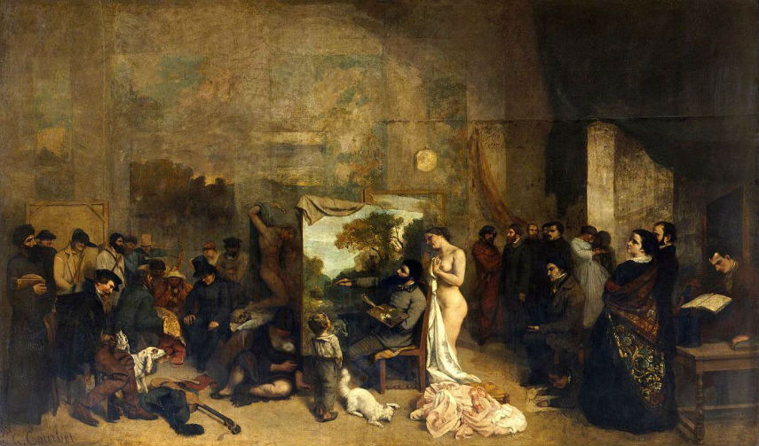 Gustave Courbet - The Painter's Studio, 1855 french portrait century
