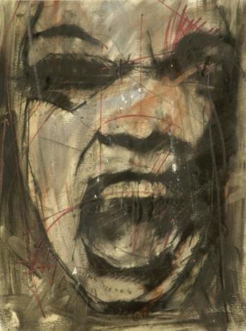 Guy Denning-Untitled (Black Screaming Head) 411-