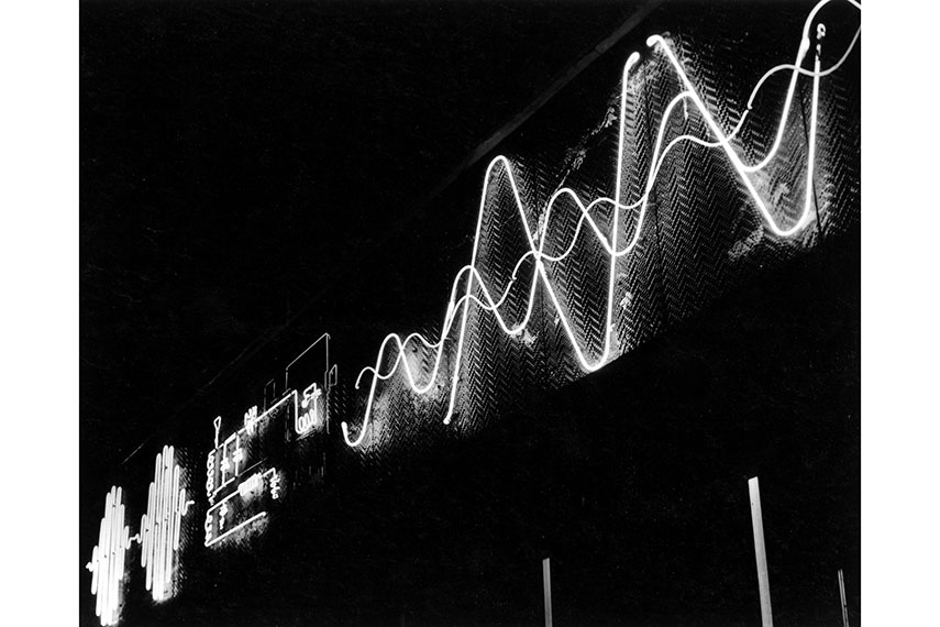 György Kepes - Kinetic outdoor neon light mural for Radio Shack, Boston, 1949-1950. The Hungarian artist used long exposures to play with the neon light effect abstract subject create photographer contact great help using tips free abstract photography abstract photography 2015 2015