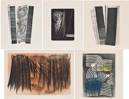 Hans Hartung-Five plates, from Farandole - Series B-1970
