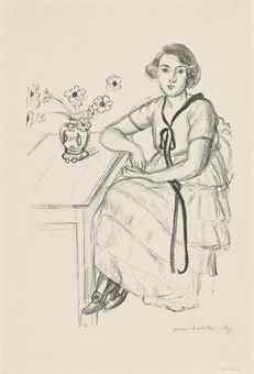 Henri Matisse-La robe jaune au ruban noir-1922