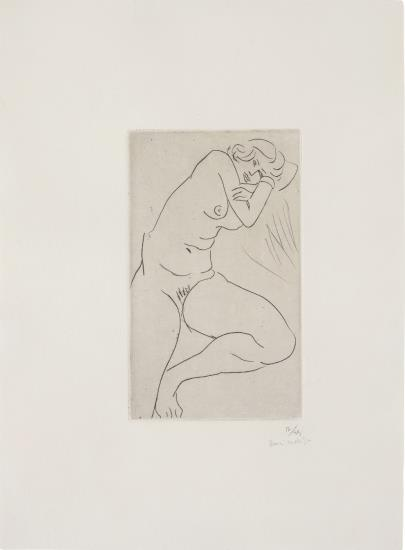 Nu assis, la tete dans les bras (Seated Nude, Head in Arms)-1929