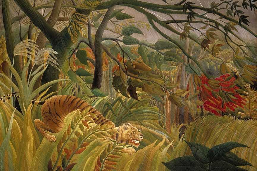 Henri Rousseau – Surprised!, 1891, detail via henrirousseau.net