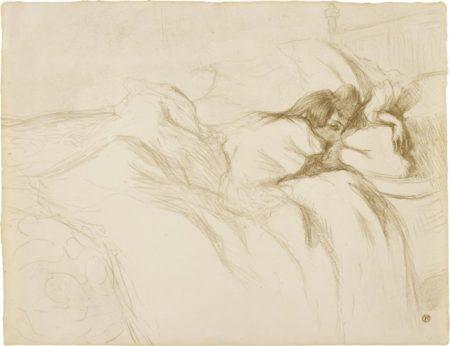 Henri de Toulouse-Lautrec-Femme couchee, reveil (Sleeping Woman, Awakening), from Elles-1896
