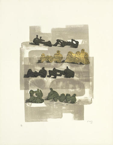 Henry Moore-Eight Reclining Figures with Architectural Background-1963