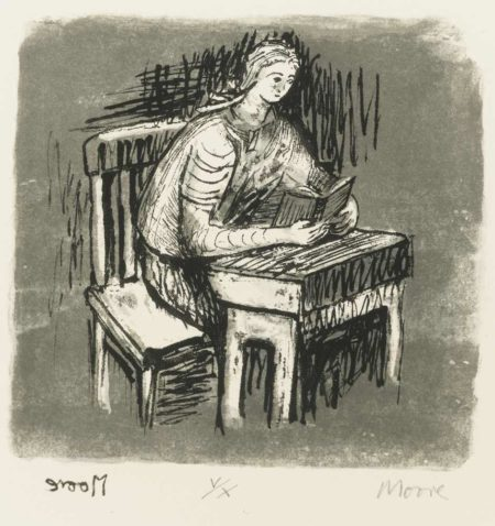 Henry Moore-Girl Seated At Desk V-1974