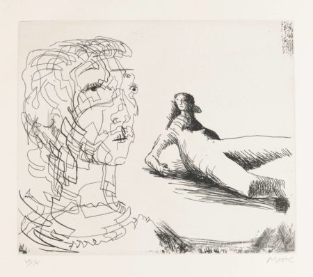 Henry Moore-Head Of Girl And Reclining Figure-1979