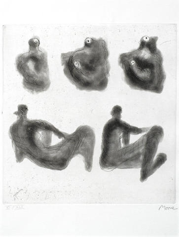 Henry Moore-Mother and Child and Reclining Figures-1974