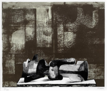 Henry Moore (1831-1895)-Reclining Figure Architectural Background IV-1977