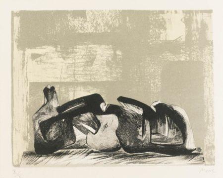 Henry Moore-Reclining Figure Interior Setting I-1977