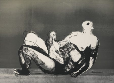 Henry Moore-Reclining Mother And Child With Grey Background (C. 655)-1982