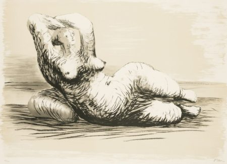 Henry Moore-Reclining Woman On Beach-1981