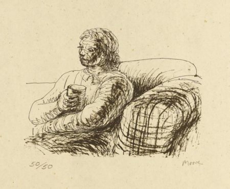 Henry Moore-Seated Figure Holding Glass-1974
