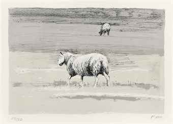 Henry Moore-Sheep in Field-1974