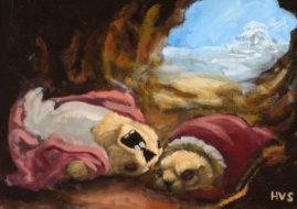 Henry Schreiber -Winter. Oil on wood, 5x 7 in