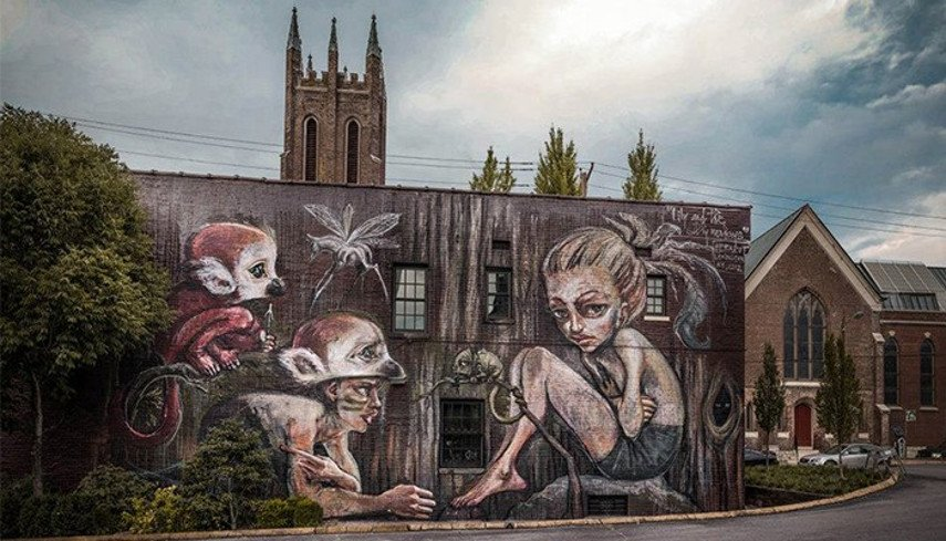 Herakut - The Giant Storybook Project in Lexington, 2012