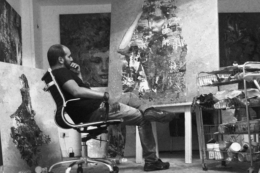 Hossam Dirar in his studio