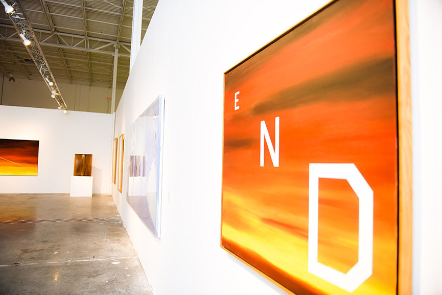 Installation view, Made in California- Selections from the Frederick R. Weisman Art Foundation, at Mana Wynwood, December 1, 2015. [Works pictured by Ed Ruscha.]
