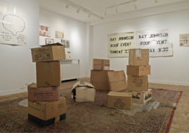"""Installation view of """"Ray and Bob Box"""" at Esopus Space, 2011. Copyright Esopus Foundation Ltd, Artworks copyright Estate of Ray Johnson"""