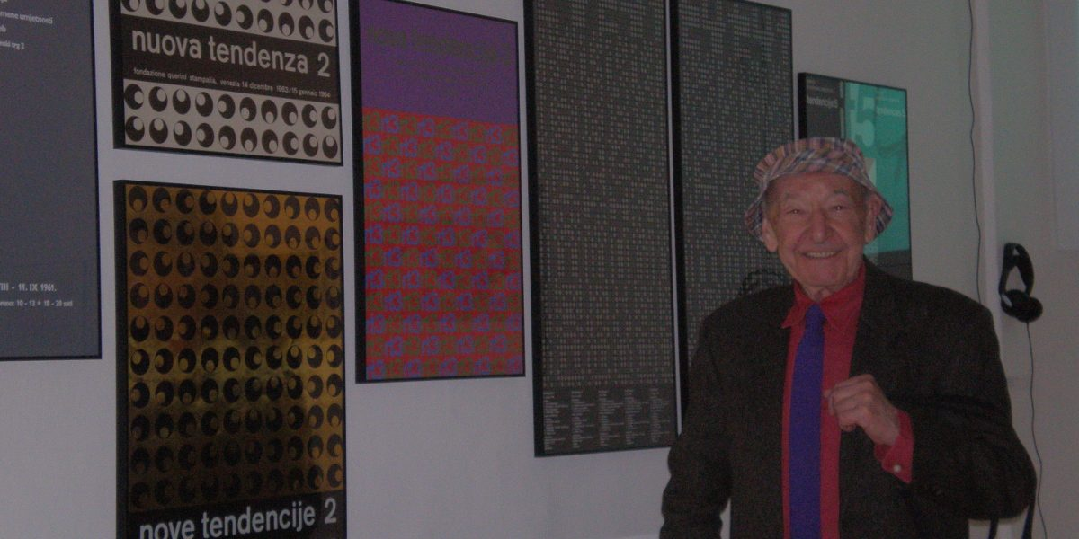 Ivan Picelj - Artist in front of his posters for New Tendencies exhibitions - Photo Credits Art And Science Meeting