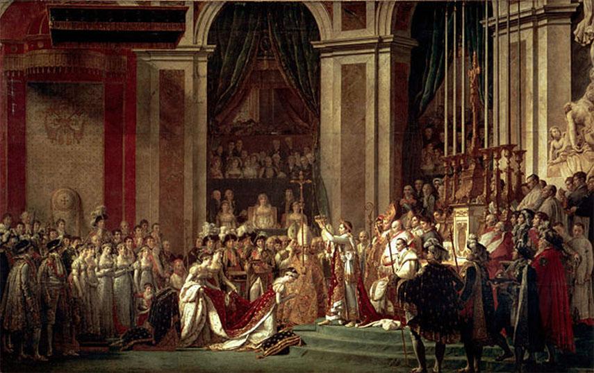 Jacques-Louis David, The Coronation of Napoleon, 1805-1807, Oil on Canvas, 6.21 x 9.79m, Location Louris Paris France
