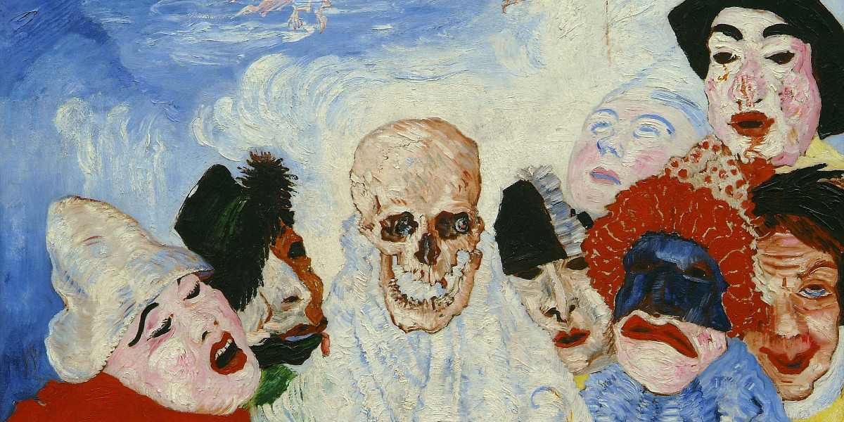 James Ensor - Masks Confronting Death, 1888 (detail) - Image via arthistoryprojectcom arts exhibition museum collection