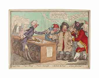 James Gillray-Bank-notes, paper-money,-French-alarmists,-o, the devil, the devil!-Ah! poor John-Bull!!!; Begging no Robbery;-i.e.- Voluntary Contribution;-or-John Bull escaping a Forced Loan; Election-troops, bringing in their accounts, to the pay-table; John Bull ground down-1797