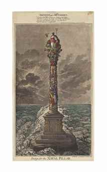 James Gillray-Design for the Naval Pillar; British Tars, towing the Danish fleet into harbour-1800