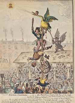 James Gillray-Election-Candidates;-or- The Republican-Goose at the Top of the Polae; Triumphal Procession of Little-Paul-The Taylor upon his new-Goose-1807