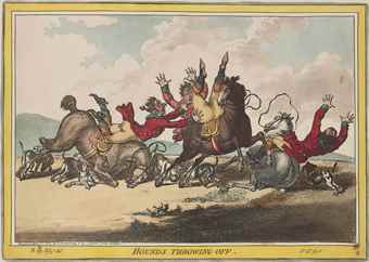 James Gillray-Hounds throwing-off; Clearing a Five-Bar Gate-1805