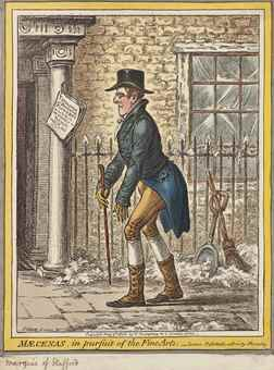 James Gillray-Maecenas, in pursuit of the fine arts. - 'Scene, Pall Mall; a Frosty-Morning.'-1808