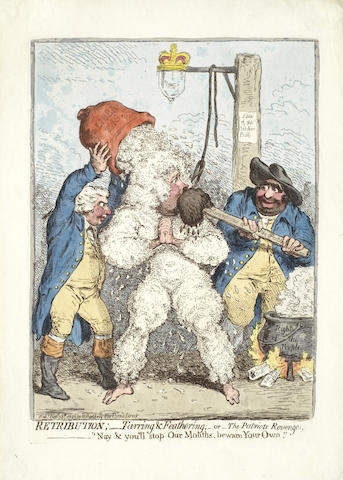 James Gillray-Retribution; Tarring & Feathering; or the Patriot's Revenge-1795