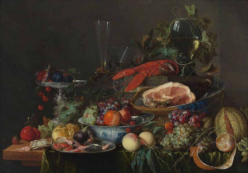 Jan Davidsz de Heem - Still life with ham, lobster and fruit, circa 1653.
