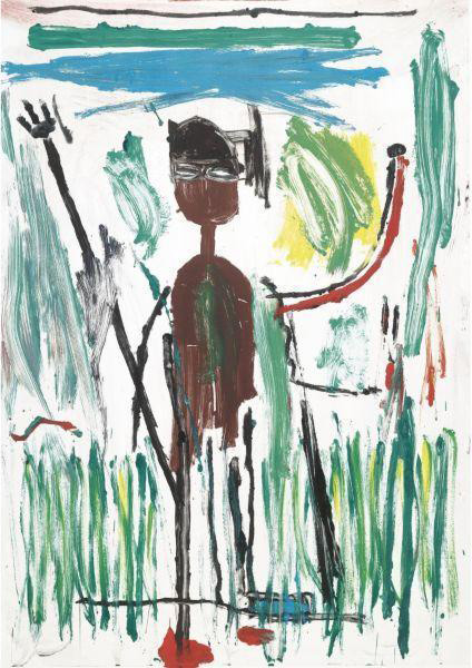 Jean-Michel Basquiat-Untitled (Man in Grass)-1982
