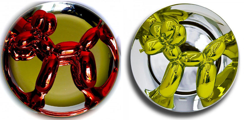 Jeff Koons - Ballon Dog - Red, 1995 (Left) - Ballon Dog - Yellow, 2015 (Right)