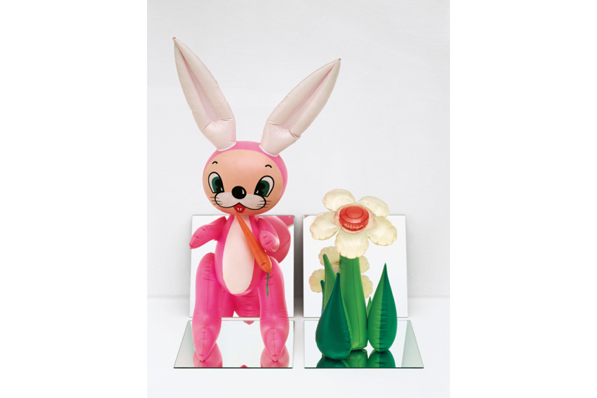 Jeff Koons - Inflatable Flower and Bunny (Tall White, Pink Bunny), 1979 via broadlycom