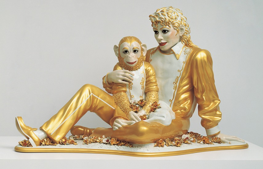 Jeff Koons - Michael Jackson and Bubbles - image via whitneyorg