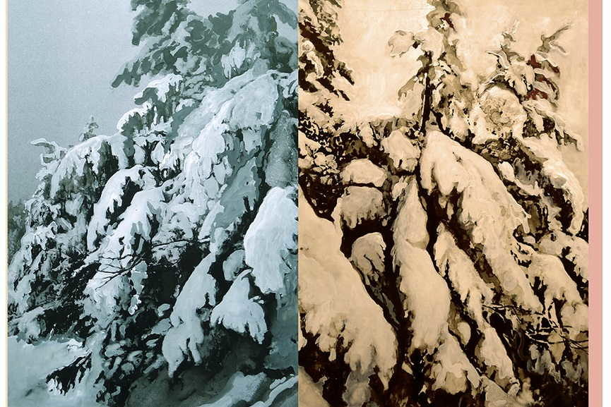 these winter branches are painted in acrylic