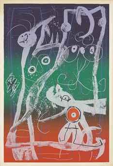 Joan Miro-Fashion frenzy - blue, red, green-1969