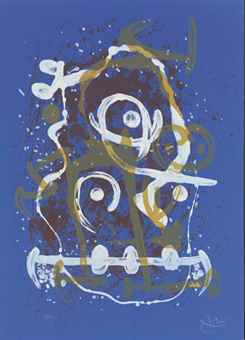 Joan Miro-Horse-ride (Blue Brown)-1969