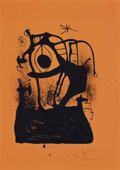 Joan Miro-L'Hypnotiseur (Orange)-1969