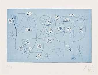 Joan Miro-One plate, from Serie IV-1947