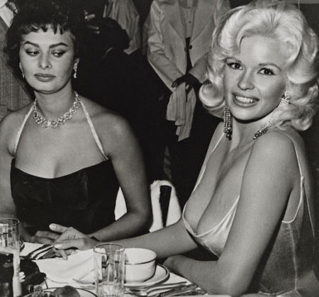 Joe Shere-Jane Mansfield and Sophia Loren at Romanoff's, Beverly Hills-1958