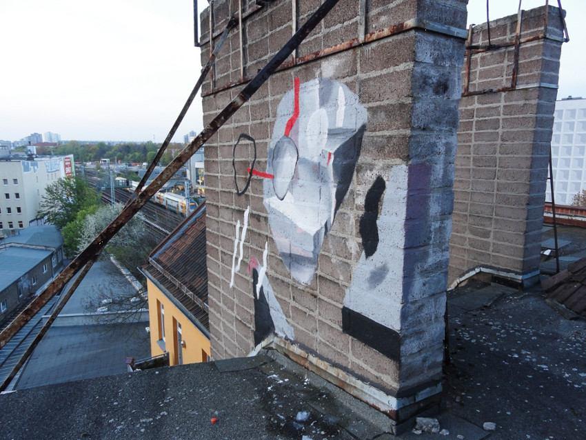 Johannes Mundinger - mural in Friedrichshain in Berlin, Germany, 2016, photo credits - artist