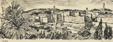 John Minton-Jerusalem, The Old City-1950