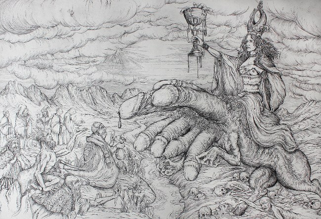 Jonathan Guthmann - The Whore of Babylon, 2013, etching, photo credits - artist