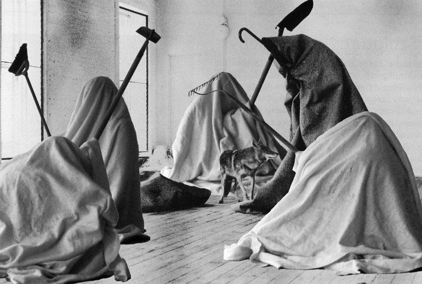 Joseph Beuys - I Like America and America Likes Me, 1974 - Image via pinterestcom