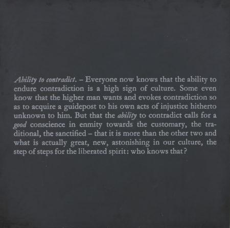 Joseph Kosuth-Error of Philisophers 4 (Ability to Contradict)-1991
